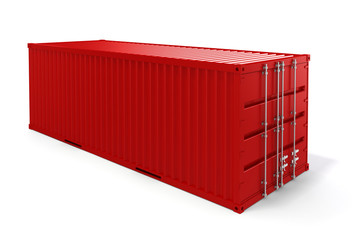 3d cargo container on white background