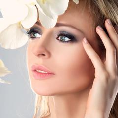 Beauty Model Woman Face. Perfect Skin.