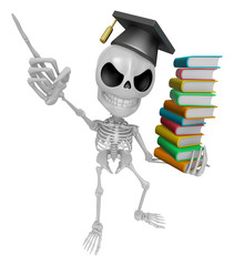 3D Skeleton Mascot is holding a pile of books. 3D Skull Characte