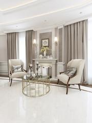Classical fireplace area design