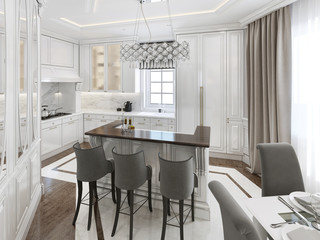 Kitchen-dining room art deco style