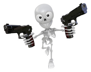 3D Skeleton Mascot is cowboys holding an automatic pistol with b