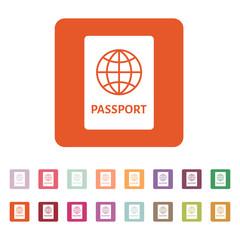 The passport icon. Travel symbol. Flat