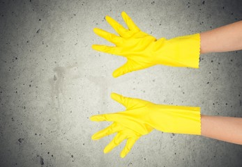 Cleaning. Latex Glove Making OK sign