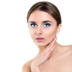 Beautiful Spa Woman Touching her Face  closeup
