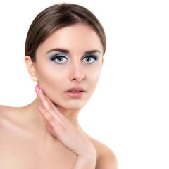 Beautiful Spa Woman Touching her Face. Perfect Fresh Skin closeu