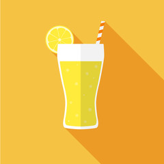 Glass of juice. Flat icon with shadow. Vector illustration.