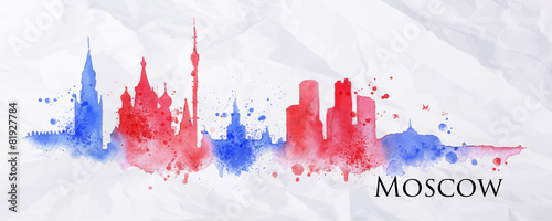 Silhouette watercolor Moscow - 81927784
