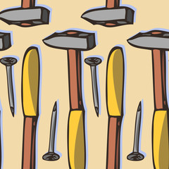 seamless vector pattern with hammer and nails