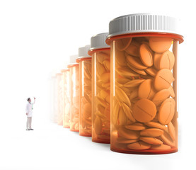 Doctor observing a row of medicine jars