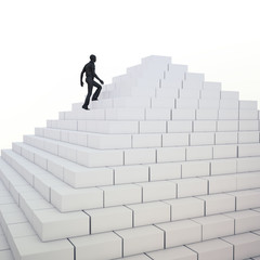 Man climbing a pyramid