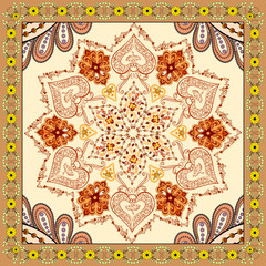 bandanna with brown orange ornament on beige background