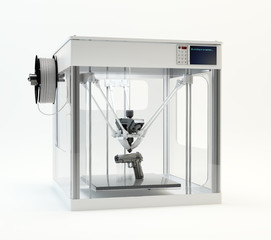 3D printer machine printing a gun