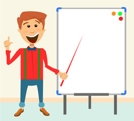 Teacher on a bulletin board