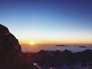 Amazing sunrise in high mountains