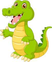 Cartoon crocodile waving hand