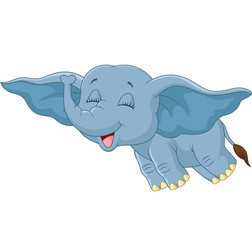 Cartoon elephant flying with his ear