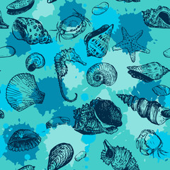 vector seamless pattern with line drawing shells