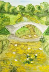 Summer landscape with bridge, painting