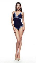 Fashion woman wearing sexy blue kombidress