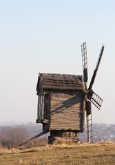 Landscape with an old Ukrainian wooden mill.