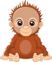 Cartoon baby orangutan sitting