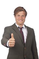 Erfolgreicher Geschäftmann mit Daumen hoch