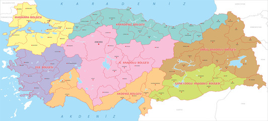 Turkey highly detailed regions map, vector.