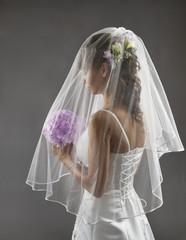 Bride Veil Portrait, Wedding Bridal Hair Style, Flowers Bouquet
