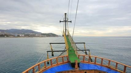 Wooden sailing ship