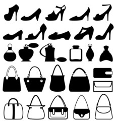 Set of flat woman accessories isolated on white background