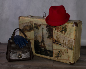 beautiful red hat, blue gloves handbag and suitcase-style Shabby