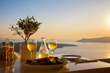 Romantic table for two on the island Santorin