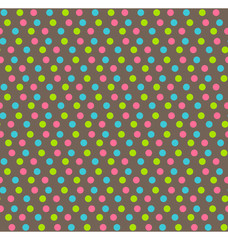 Bright fun abstract seamless pattern with dots isolated on brown