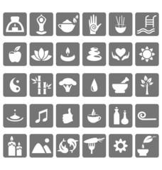 Spa yoga zen flat icons isolated on white background