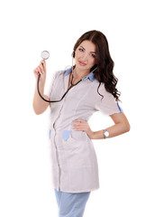 The beautiful girl the doctor with a stethoscope in hands