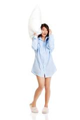 Young morning woman in big shirt.
