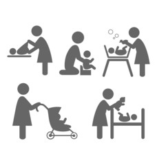 Family and baby flat icons isolated on white background