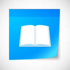 Sticky note icon with a book