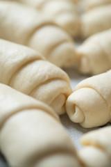 Croissant prepared for baking