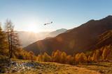 aliante in volo su paesaggio autunnale