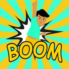 BOOM ! Comic speech bubbles in pop art style with Boy