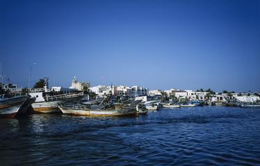 TUNISIA, Mahdia, fishing boats in the port - FILM SCAN