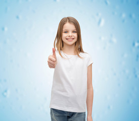 girl in blank white t-shirt showing thumbs up