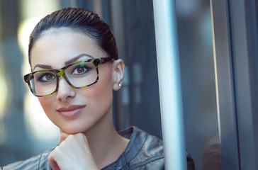 Portrait of beautiful woman wearing spectacles.