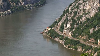 The border between Romania and Serbia. Danube Gorge.