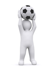 White man and soccer ball.