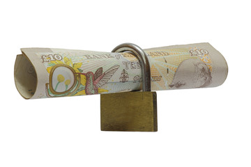 money and lock isolated