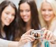 beautiful girls taking selfie in the city
