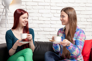 The meeting of two girls over coffee.